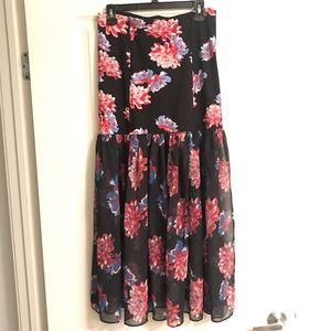 Free People black maxi floral sheer skirt